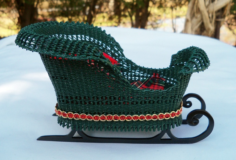 Wicker sleigh side view