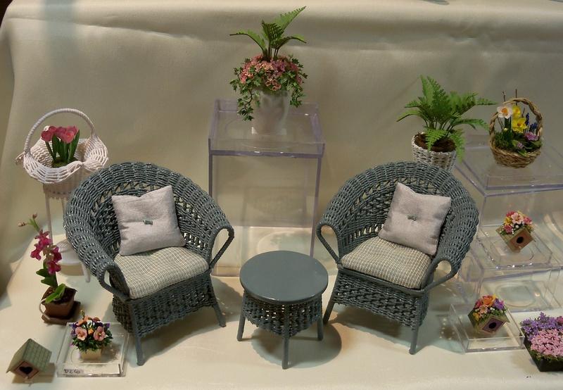 Sea blue wicker chair set