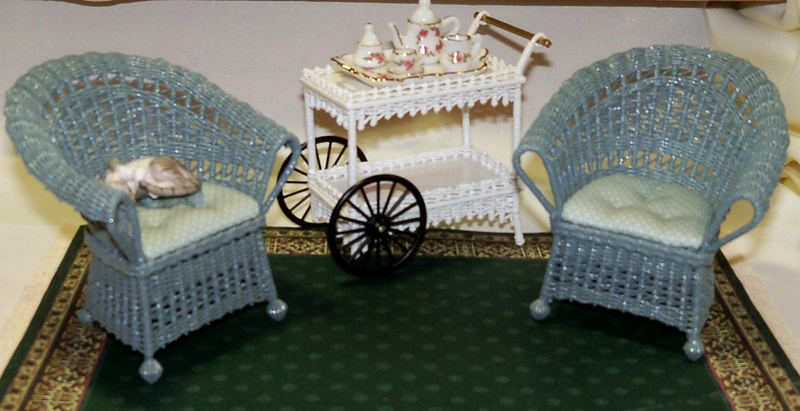 Sea blue chairs and tea cart
