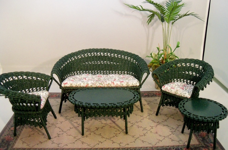 Spruce green wicker furniture