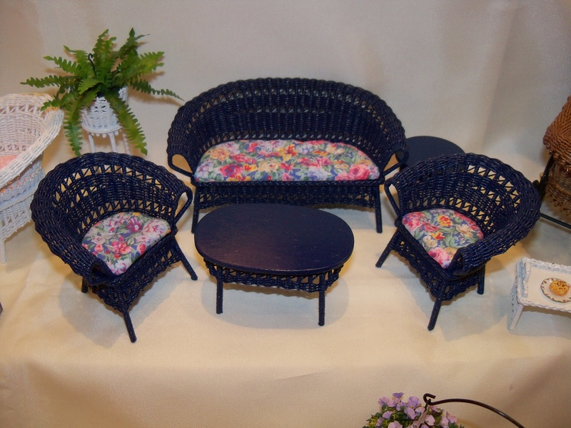 Blue wicker set