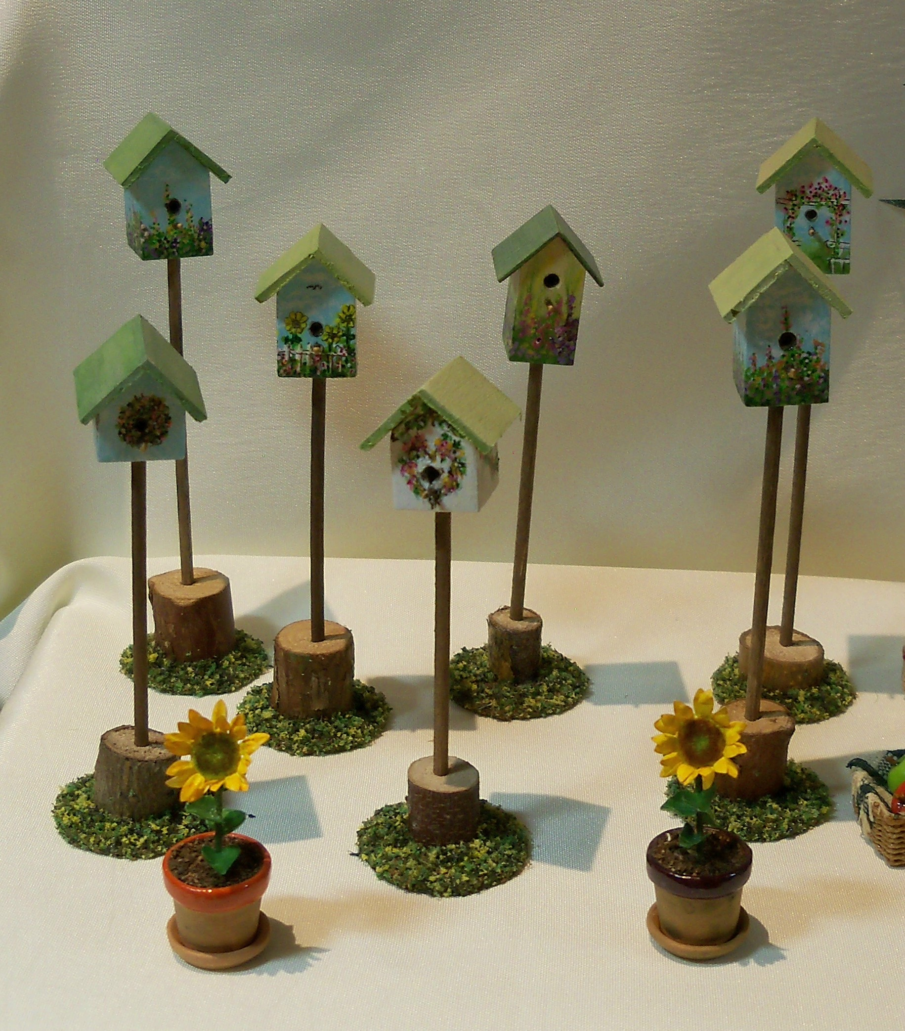Bird houses on stands
