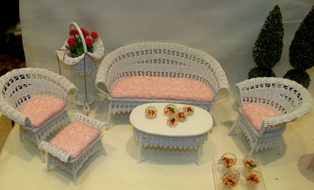 White wicker with pink flower fabric