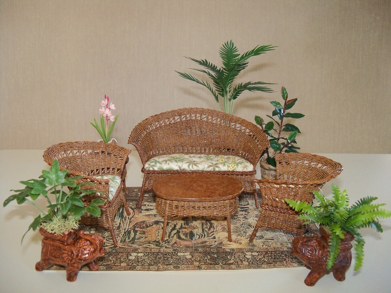 Tan stained wicker setting