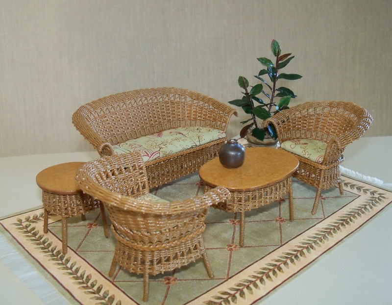 Light tan stain wicker set
