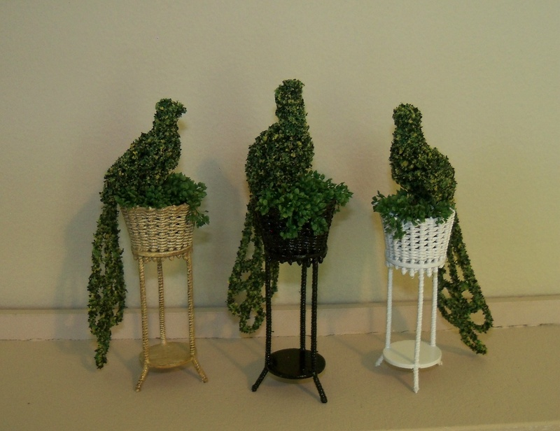 Trio of Peacock topiaries