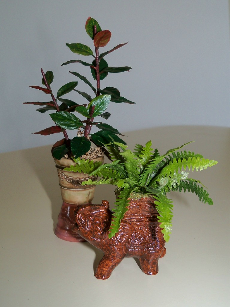 Elephant planter and rubber plant